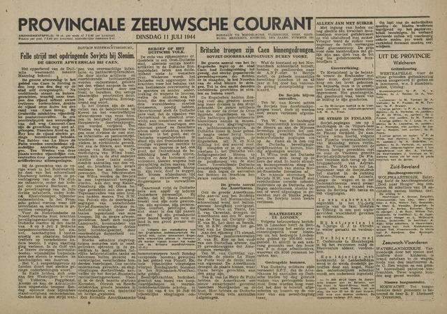 Provinciale Zeeuwse Courant 1944-07-11