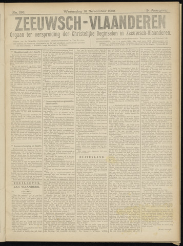 Luctor et Emergo. Antirevolutionair nieuws- en advertentieblad voor Zeeland / Zeeuwsch-Vlaanderen. Orgaan ter verspreiding van de christelijke beginselen in Zeeuwsch-Vlaanderen 1920-11-10