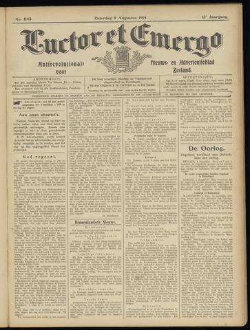 Luctor et Emergo. Antirevolutionair nieuws- en advertentieblad voor Zeeland / Zeeuwsch-Vlaanderen. Orgaan ter verspreiding van de christelijke beginselen in Zeeuwsch-Vlaanderen 1914-08-08