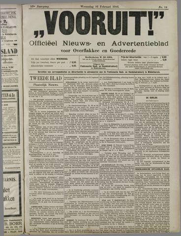 """""""Vooruit!""""Officieel Nieuws- en Advertentieblad voor Overflakkee en Goedereede 1916-02-16"""