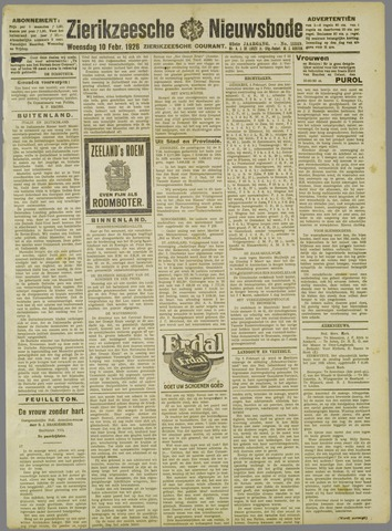 Zierikzeesche Nieuwsbode 1926-02-10