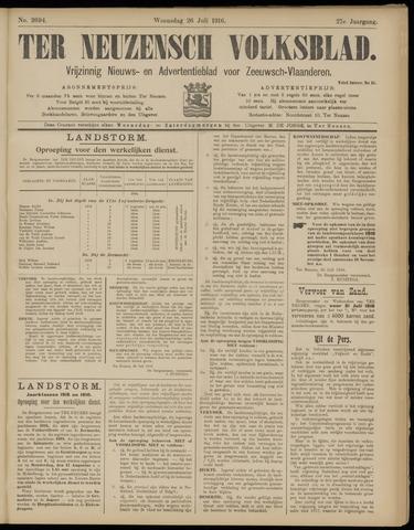 Ter Neuzensch Volksblad. Vrijzinnig nieuws- en advertentieblad voor Zeeuwsch- Vlaanderen / Zeeuwsch Nieuwsblad. Nieuws- en advertentieblad voor Zeeland 1916-07-26