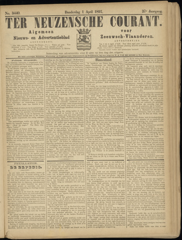 Ter Neuzensche Courant. Algemeen Nieuws- en Advertentieblad voor Zeeuwsch-Vlaanderen / Neuzensche Courant ... (idem) / (Algemeen) nieuws en advertentieblad voor Zeeuwsch-Vlaanderen 1897-04-01