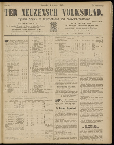 Ter Neuzensch Volksblad. Vrijzinnig nieuws- en advertentieblad voor Zeeuwsch- Vlaanderen / Zeeuwsch Nieuwsblad. Nieuws- en advertentieblad voor Zeeland 1916-10-11