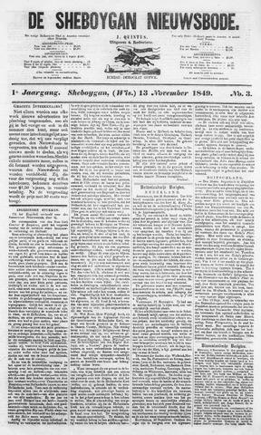 Sheboygan Nieuwsbode 1849-11-13