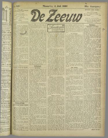 De Zeeuw. Christelijk-historisch nieuwsblad voor Zeeland 1921-07-04