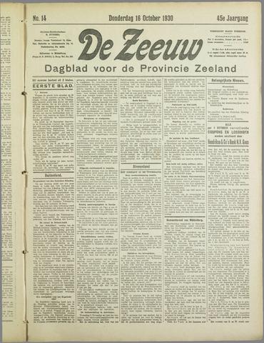 De Zeeuw. Christelijk-historisch nieuwsblad voor Zeeland 1930-10-16