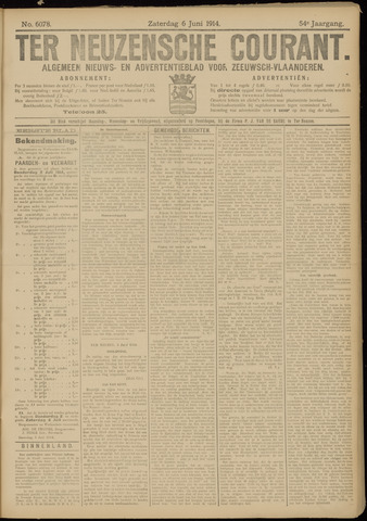 Ter Neuzensche Courant. Algemeen Nieuws- en Advertentieblad voor Zeeuwsch-Vlaanderen / Neuzensche Courant ... (idem) / (Algemeen) nieuws en advertentieblad voor Zeeuwsch-Vlaanderen 1914-06-06