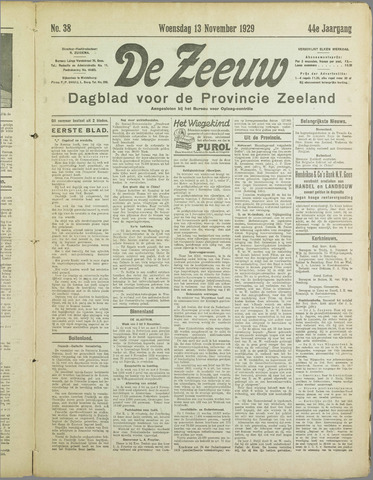 De Zeeuw. Christelijk-historisch nieuwsblad voor Zeeland 1929-11-13