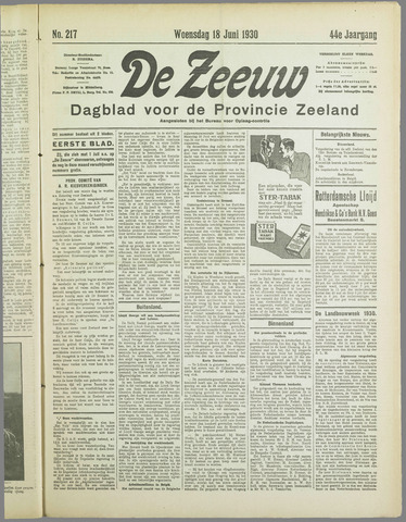 De Zeeuw. Christelijk-historisch nieuwsblad voor Zeeland 1930-06-18