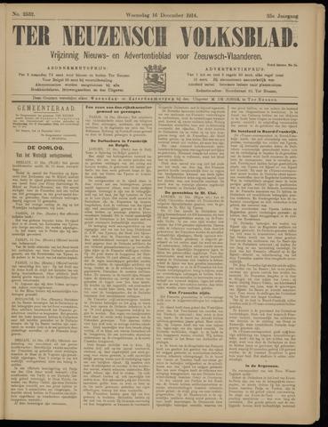 Ter Neuzensch Volksblad. Vrijzinnig nieuws- en advertentieblad voor Zeeuwsch- Vlaanderen / Zeeuwsch Nieuwsblad. Nieuws- en advertentieblad voor Zeeland 1914-12-16
