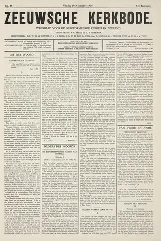 Zeeuwsche kerkbode, weekblad gewijd aan de belangen der gereformeerde kerken/ Zeeuwsch kerkblad 1939-11-10