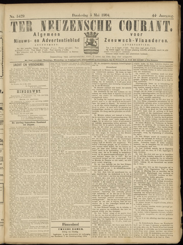Ter Neuzensche Courant. Algemeen Nieuws- en Advertentieblad voor Zeeuwsch-Vlaanderen / Neuzensche Courant ... (idem) / (Algemeen) nieuws en advertentieblad voor Zeeuwsch-Vlaanderen 1904-05-05