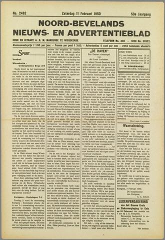 Noord-Bevelands Nieuws- en advertentieblad 1950-02-11
