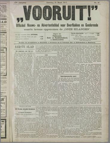 """""""Vooruit!""""Officieel Nieuws- en Advertentieblad voor Overflakkee en Goedereede 1917-03-31"""
