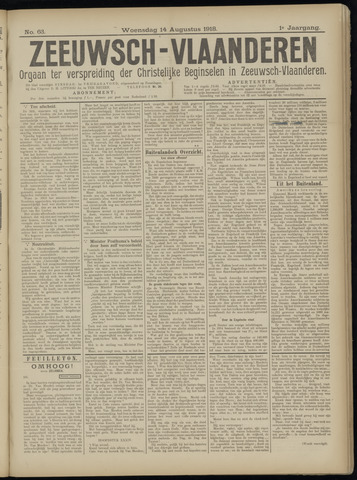 Luctor et Emergo. Antirevolutionair nieuws- en advertentieblad voor Zeeland / Zeeuwsch-Vlaanderen. Orgaan ter verspreiding van de christelijke beginselen in Zeeuwsch-Vlaanderen 1918-08-14