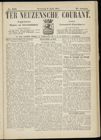 Ter Neuzensche Courant. Algemeen Nieuws- en Advertentieblad voor Zeeuwsch-Vlaanderen / Neuzensche Courant ... (idem) / (Algemeen) nieuws en advertentieblad voor Zeeuwsch-Vlaanderen 1881-04-06
