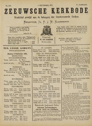Zeeuwsche kerkbode, weekblad gewijd aan de belangen der gereformeerde kerken/ Zeeuwsch kerkblad 1891-09-05
