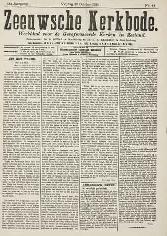 Zeeuwsche kerkbode, weekblad gewijd aan de belangen der gereformeerde kerken/ Zeeuwsch kerkblad 1920-10-29