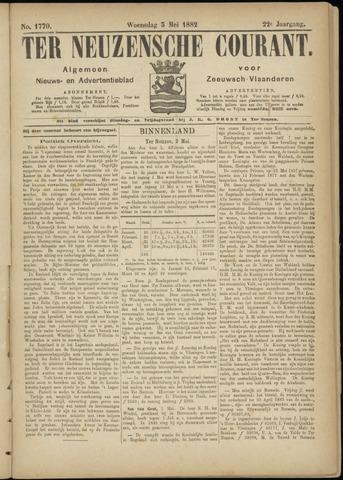 Ter Neuzensche Courant. Algemeen Nieuws- en Advertentieblad voor Zeeuwsch-Vlaanderen / Neuzensche Courant ... (idem) / (Algemeen) nieuws en advertentieblad voor Zeeuwsch-Vlaanderen 1882-05-03