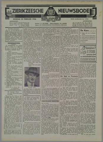 Zierikzeesche Nieuwsbode 1936-02-25