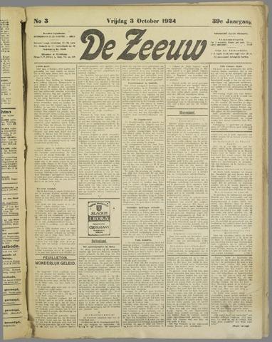 De Zeeuw. Christelijk-historisch nieuwsblad voor Zeeland 1924-10-03