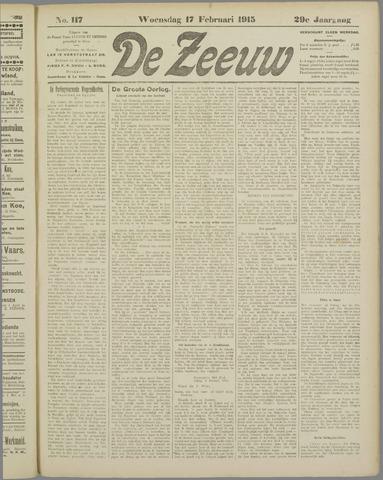 De Zeeuw. Christelijk-historisch nieuwsblad voor Zeeland 1915-02-17