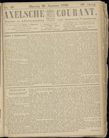 Axelsche Courant 1922-08-29