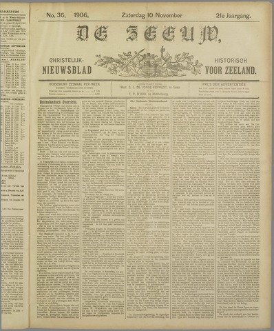 De Zeeuw. Christelijk-historisch nieuwsblad voor Zeeland 1906-11-10