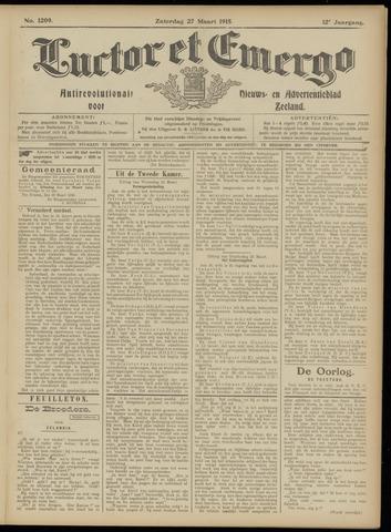 Luctor et Emergo. Antirevolutionair nieuws- en advertentieblad voor Zeeland / Zeeuwsch-Vlaanderen. Orgaan ter verspreiding van de christelijke beginselen in Zeeuwsch-Vlaanderen 1915-03-27
