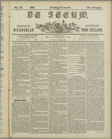 De Zeeuw. Christelijk-historisch nieuwsblad voor Zeeland 1910-01-18