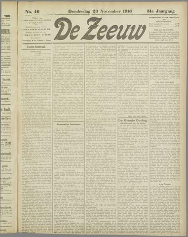 De Zeeuw. Christelijk-historisch nieuwsblad voor Zeeland 1916-11-23
