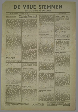 Vrije Stemmen van Schouwen-Duiveland, tevens mededeelingenblad Militair Gezag 1945-12-30