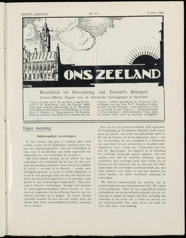 Ons Zeeland / Zeeuwsche editie 1926-07-10