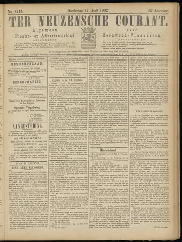 Ter Neuzensche Courant. Algemeen Nieuws- en Advertentieblad voor Zeeuwsch-Vlaanderen / Neuzensche Courant ... (idem) / (Algemeen) nieuws en advertentieblad voor Zeeuwsch-Vlaanderen 1902-04-17
