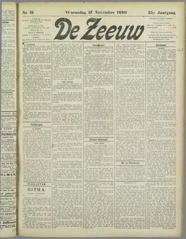 De Zeeuw. Christelijk-historisch nieuwsblad voor Zeeland 1920-11-17