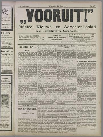 """""""Vooruit!""""Officieel Nieuws- en Advertentieblad voor Overflakkee en Goedereede 1911-06-14"""
