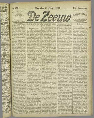 De Zeeuw. Christelijk-historisch nieuwsblad voor Zeeland 1921-03-14