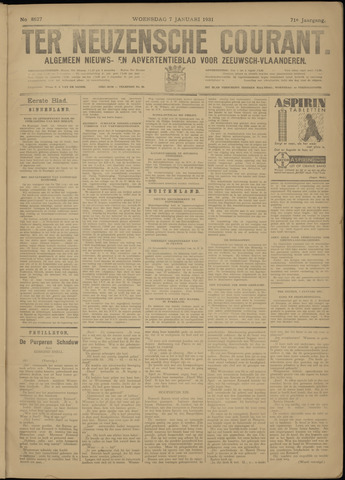 Ter Neuzensche Courant. Algemeen Nieuws- en Advertentieblad voor Zeeuwsch-Vlaanderen / Neuzensche Courant ... (idem) / (Algemeen) nieuws en advertentieblad voor Zeeuwsch-Vlaanderen 1931-01-07