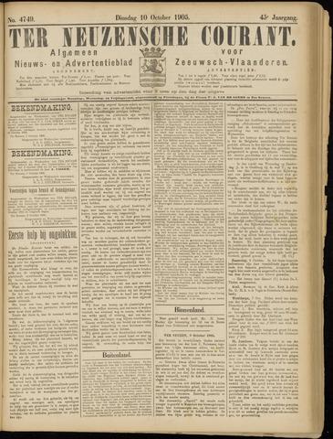 Ter Neuzensche Courant. Algemeen Nieuws- en Advertentieblad voor Zeeuwsch-Vlaanderen / Neuzensche Courant ... (idem) / (Algemeen) nieuws en advertentieblad voor Zeeuwsch-Vlaanderen 1905-10-10