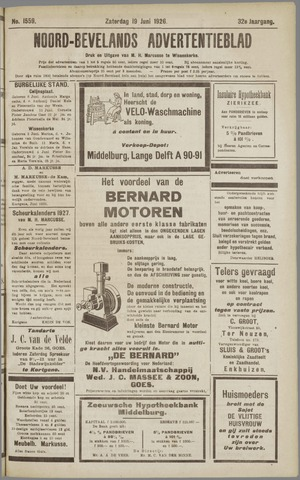 Noord-Bevelands Nieuws- en advertentieblad 1926-06-19