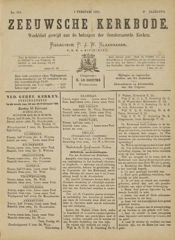 Zeeuwsche kerkbode, weekblad gewijd aan de belangen der gereformeerde kerken/ Zeeuwsch kerkblad 1889-02-09