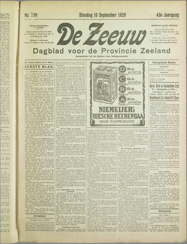 De Zeeuw. Christelijk-historisch nieuwsblad voor Zeeland 1929-09-10