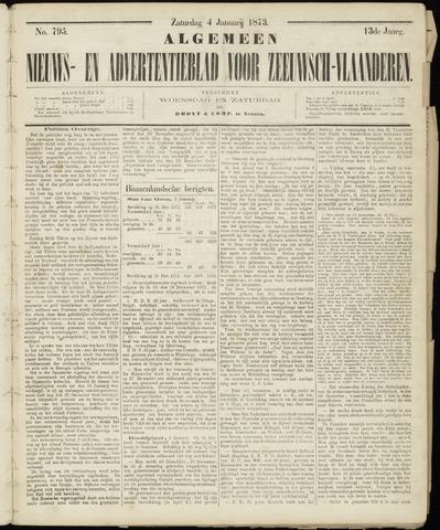 Ter Neuzensche Courant. Algemeen Nieuws- en Advertentieblad voor Zeeuwsch-Vlaanderen / Neuzensche Courant ... (idem) / (Algemeen) nieuws en advertentieblad voor Zeeuwsch-Vlaanderen 1873-01-04