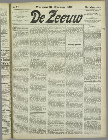 De Zeeuw. Christelijk-historisch nieuwsblad voor Zeeland 1920-12-22