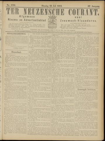 Ter Neuzensche Courant. Algemeen Nieuws- en Advertentieblad voor Zeeuwsch-Vlaanderen / Neuzensche Courant ... (idem) / (Algemeen) nieuws en advertentieblad voor Zeeuwsch-Vlaanderen 1912-07-23