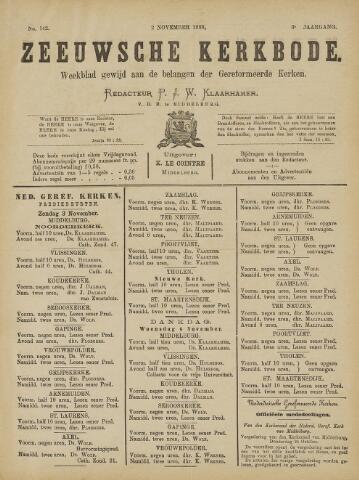 Zeeuwsche kerkbode, weekblad gewijd aan de belangen der gereformeerde kerken/ Zeeuwsch kerkblad 1889-11-02