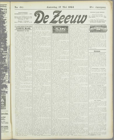 De Zeeuw. Christelijk-historisch nieuwsblad voor Zeeland 1924-05-17