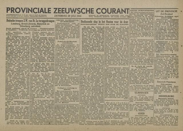 Provinciale Zeeuwse Courant 1944-07-29