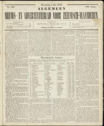 Ter Neuzensche Courant. Algemeen Nieuws- en Advertentieblad voor Zeeuwsch-Vlaanderen / Neuzensche Courant ... (idem) / (Algemeen) nieuws en advertentieblad voor Zeeuwsch-Vlaanderen 1870-05-04